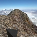 The view of the Chilean summit from the Argentinean summit.