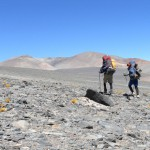 Chandler Kemp and Jonathan Kreiss-Tomkins are shown here at the start of their trek toward Ojos del Salado in the Andes.