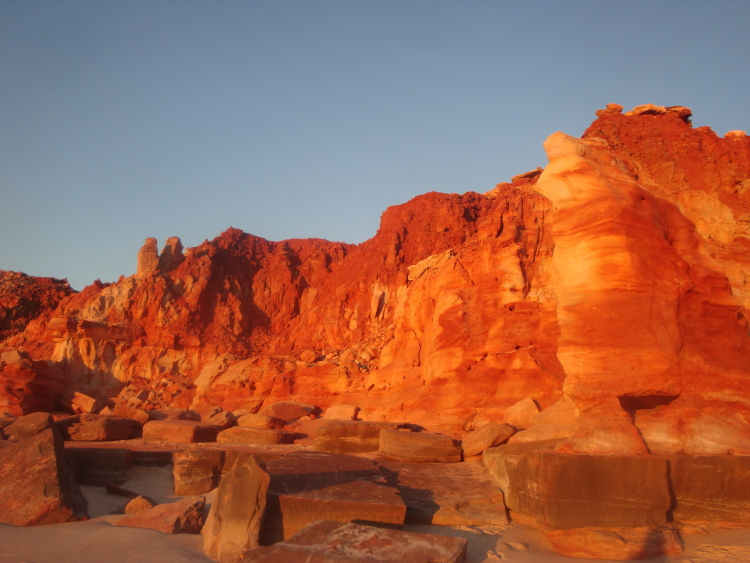 Red cliffs at Kooljaman at sunset